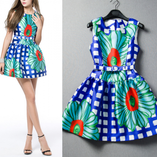 2015 flowers printed cultivate one's morality sleeveless dresses