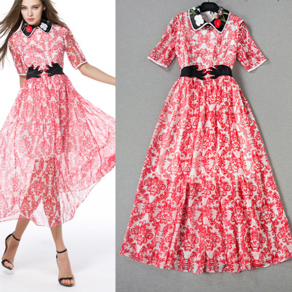 2015 color three-dimensional embroidery printing short sleeve dress