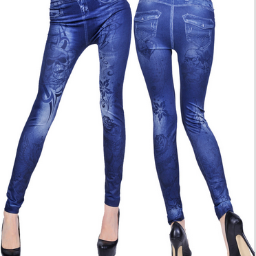 Denim Leggings Fashion Skull Print Leggings