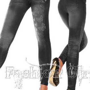 Denim Butterfly Print Fashion Leggings