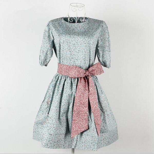 2015 European society of high-end boutique bowknot belt print dress
