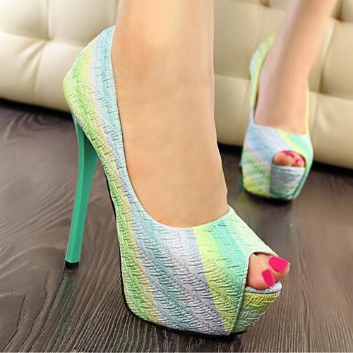 green Rainbow Fish Mouth High-Heeled Shoes