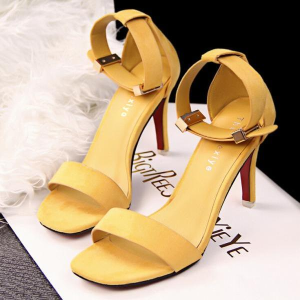 Fashion Contracted Metal Buckles Yellow High Heels Sandals