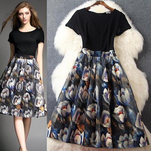 Fashion Splicing Printing Long Dress