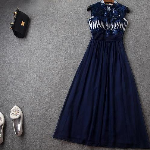 Heavy Embroidery Sequins Dark Blue Long Dress Dress