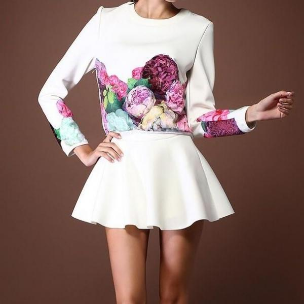 Flowers Long Sleeved Clothes + Skirt