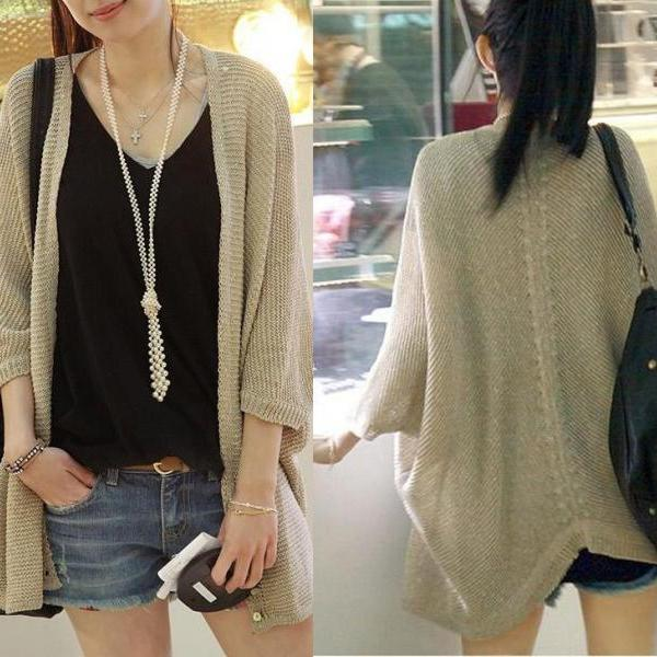 Hollow Bat Sleeve Sweater Cardigan