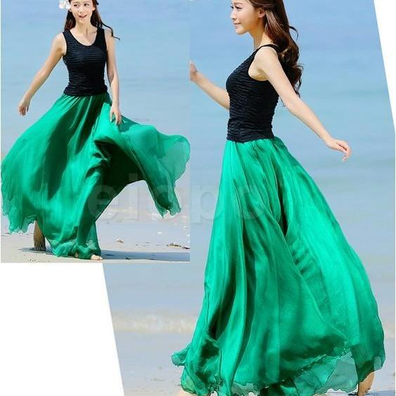 4f0de51620 ... Emerald Green Long Chiffon Skirt Maxi Skirt Ladies Silk Chiffon Dress  Plus Sizes Sundress Beach Skirt ...