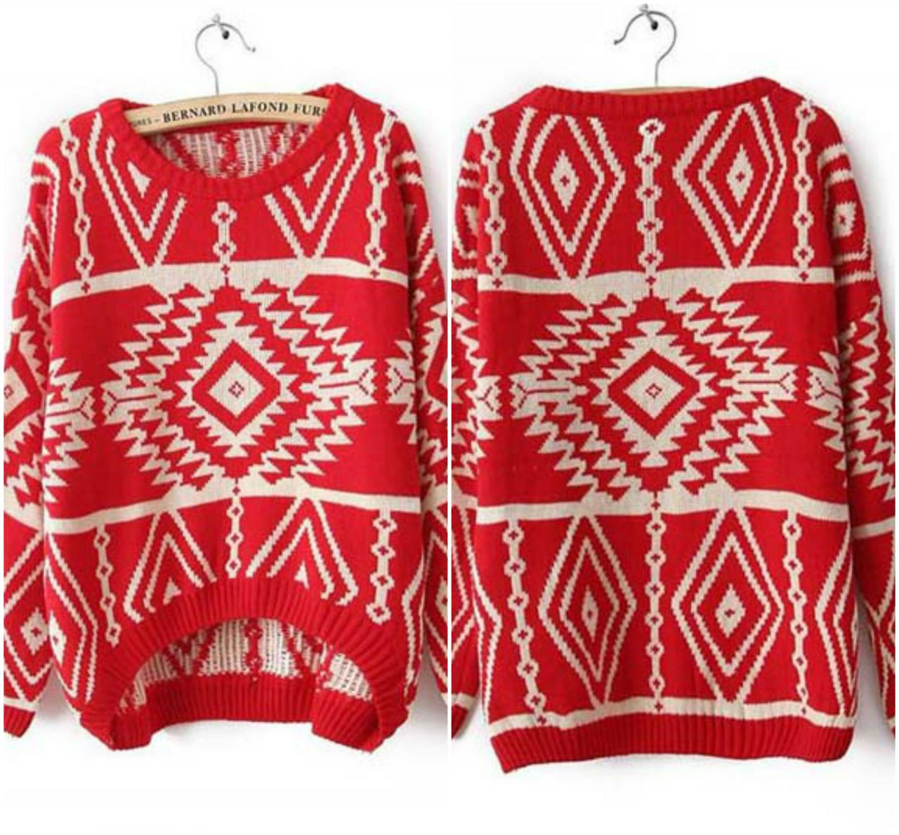 Red Tribal Print Pullover Sweater on Luulla